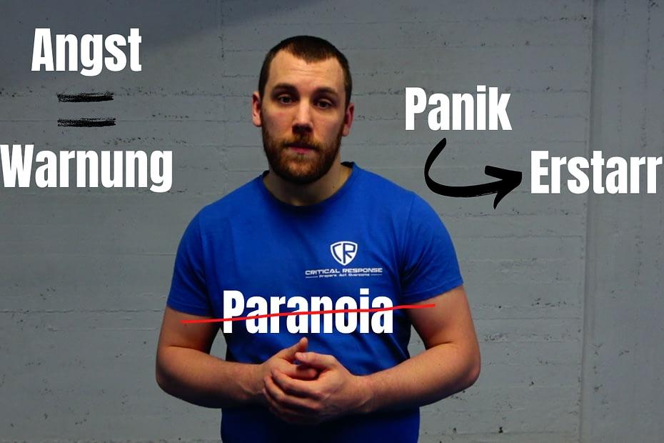Angst ist eine normale Reaktion auf Gefahren. Selbstverteidigungstraining soll verhindern, dass Angst in Panik oder Paranoia umschlägt.